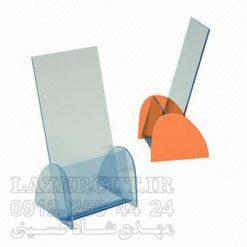 استند جای بروشور قیمت و نمونه ساخت استند رومیزی کاتالوگ پلکسی گلاس شفاف آبی نارنجی
