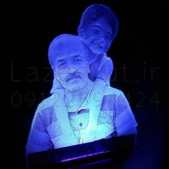 تندیس چهره نوری رومیزی پلکسی رومیزی آبی عکس پدر و پسر ساخت تندیس چهره