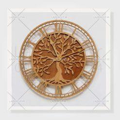 طرح برش لیزری ساعت درخت
